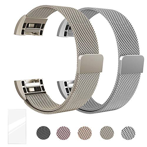 Super Vaule Metal Bands Compatible for Fitbit Charge 2 Bands, Milanese Stainless Steel Mesh Magnetic Replacement Strap Small & Large w/Screen Protector for Women Men,Mother's and Father's - Silver Shiny Band Mesh