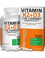 Vitamin K2 (MK7) with D3 Supplement Bone and Heart Health Non-GMO Formula 5000 IU Vitamin D3 & 90 mcg Vitamin K2 MK-7 Easy to Swallow Vitamin D & K Complex, 120 Capsules