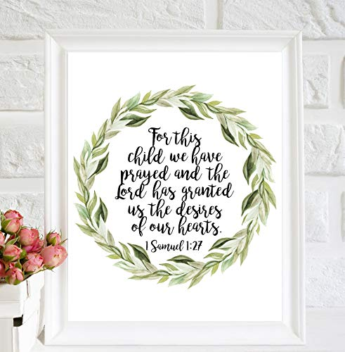 Arvier for This Child we Have Prayed Print Nursery Decor Nursery Quotes Boho Wreath Nursery Art Christian Wall Art Bible Verses Art Scripture Decor Framed Wall Art