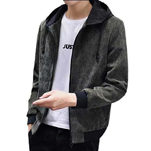 faefdce2815 Image Unavailable. Image not available for. Color  Men s Windproof Hoodie  Jacket Zipper Pocket Casual Simple Coat Winter Fashion Pure ...