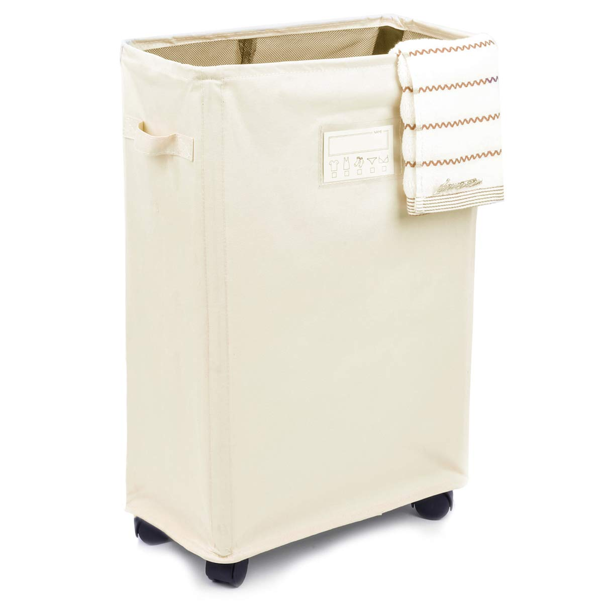 Caroeas Laundry Sorter, Laundry Hamper 3-Bag Card Pocket & Leather Handle Waterproof Laundry Cart Collapsible Laundry Basket Brake & Breathable Mesh Cover Caroeas Home Deocration Co. ltd CLB012-CP3