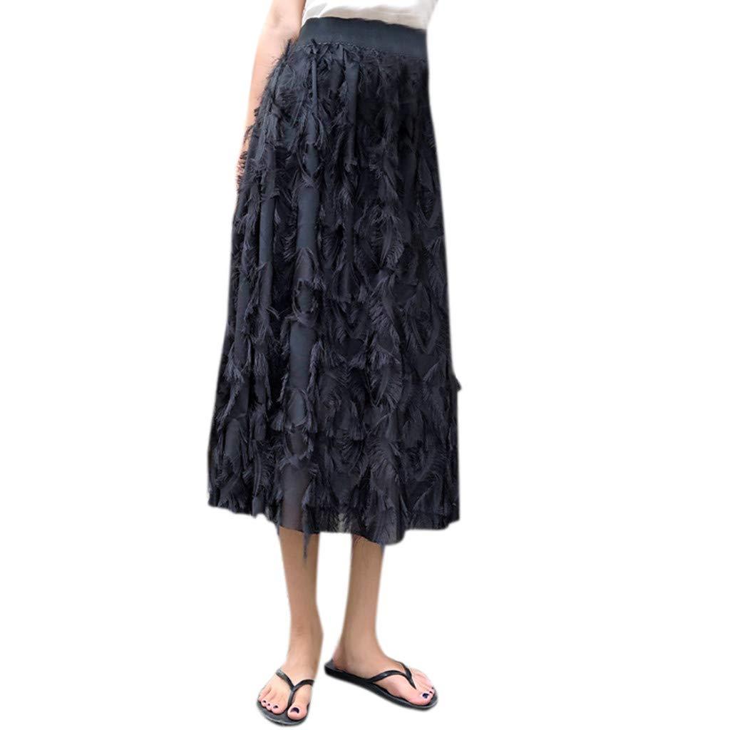 B Black Farmerl Women High Waist Pleated Ankle Length Beach Wedding Party Maxi Skirt