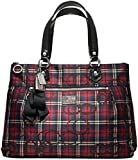 Coach Poppy Glam Tartan Red Black Plaid Large Tote 18713