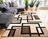 Cheap Uptown Squares Ivory & Brown Modern Geometric Comfy Casual Hand Carved Area Rug 9×13 ( 9'2″ x 12'6″ ) Easy Clean Stain Fade Resistant Abstract Boxes Contemporary Thick Soft Plush Living Dining Room