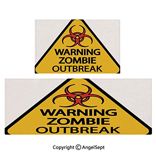 All Weather Door Mats 2piece Suit,Warning Zombie Outbreak Sign Cemetery Infection Halloween Graphic Decorative 16