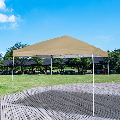 Homevibes 10 x 10 Pop up Canopy Tent Ez up Portable UV Coated Outdoor Garden Commercial Instant Tent Shade Folding Straight Leg for Parties Easy Set up with Carry Bag, Beige