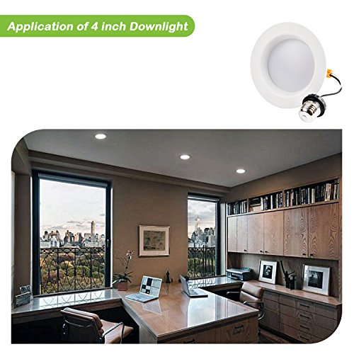 Hykolity 4 inch LED Recessed Downlight, 10W 700LM Dimmable Retrofit Recessed Can Downlight, 3000K Warm White, Damp Location, 50W BR20/65W BR30 Replacement- 12 Pack by hykolity (Image #6)