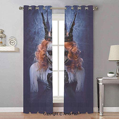 AmorFash Queen Home Grommet Window Crushed Sheer Curtains for Bedroom,White,Sheer Curtain Panels,42x84 Inch Queen of Death Scary Body Art Halloween Evil Face Bizarre Make Up Zombie -