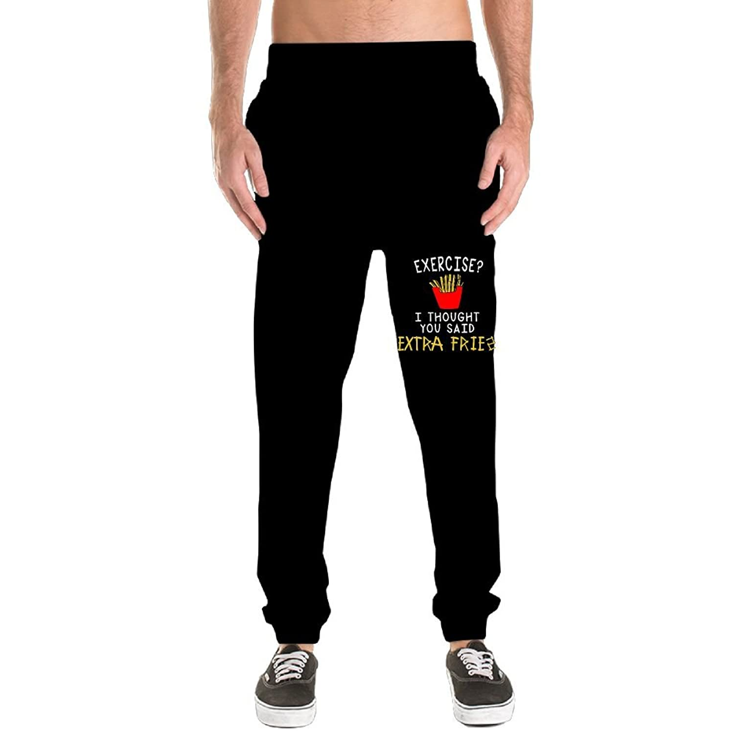 Top Donyoung Exercise I Thought You Said Extra Fries Men Drawstring Athletic Leisure Yoga Pants Sweatpants supplier