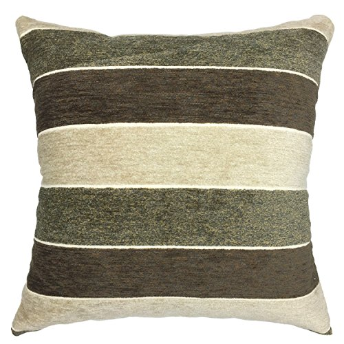 YOUR SMILE Stripe Cotton Square Decorative Throw Pillow Case Cushion Cover 18x18 Inch (Beige) (Gray/Brown/Gray) (Gray And Brown Pillows)