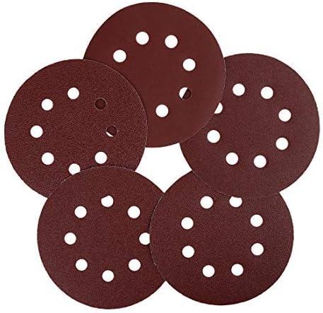100 pieces 5 inch 8 hole hook and loop sanding discs 60 80 100 120 240 Assorted grain sandpaper