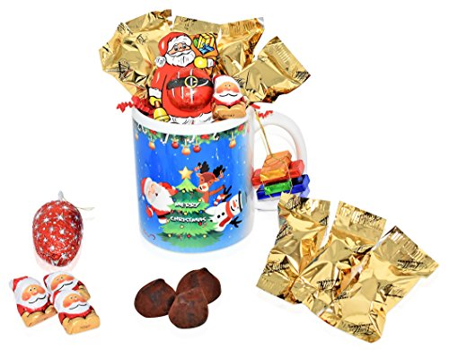Christmas Mug Chocolate Gift Set - 15 Piece Gift Pack with Truffles, Riegelein's Mini Santa's and Christmas Chocolate Varieties - Christmas Gift Basket for Family, Friends, Her, Him and more