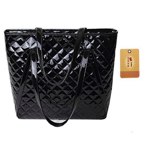 Goodbag Boutique Women Lattice Geometric Pattern Tote Handbag Faux Patent Leather Shoulder Bag Black - Leather And Patent Leather Tote Bag
