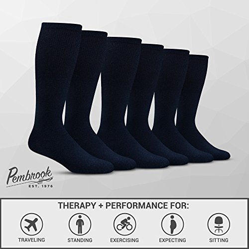 Men's Compression Socks (6-Pack) – L/XL – Navy - Graduated Muscle Support, Relief and Recovery. Great for Running, Medical, Athletic, Diabetic, Travel, Nursing (8-15 mmHg) by Pembrook (Image #2)