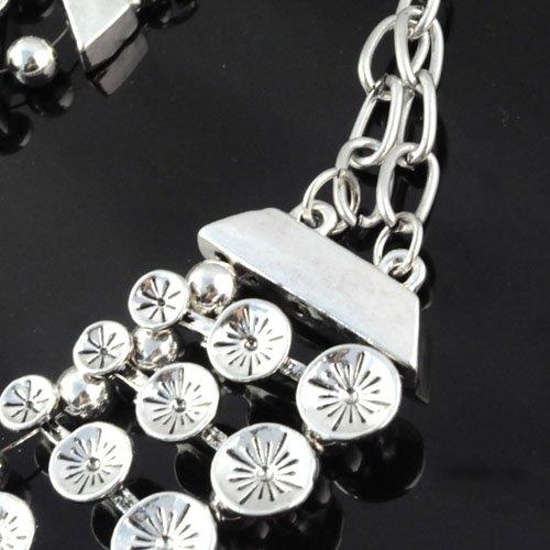 Huan Xun en alliage d'argent multi chaîne Lien Ensemble collier et boucles d'oreille en forme de fleur, 43,2cm