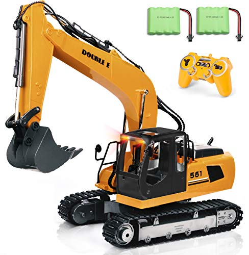 DOUBLE  E 17 Channel RC Truck 1/16 Remote Control Excavator Tractor with 2 Batteries Simulated Head Lights and Sounds