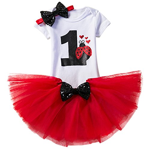 Baby Girl It's My 1st Birthday 3Pcs Outfits Skirt Set Romper+Tutu Dress+Headband Cake Smash Crown Bodysuit Clothes Jumpsuit Red Beetle(1 Year) One Size