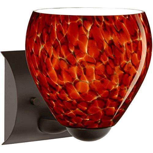 Besa Lighting 1WZ-412241-LED-BR 1X6W Gu24 Led Bolla Wall Sconce with Garnet Glass, Bronze Finish