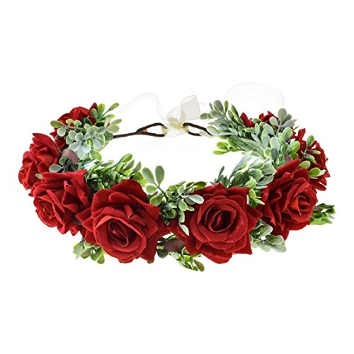 (Vividsun Women Flower Crown Floral Headpiece Festival Wedding Hair Wreath Floral Crown (Red))