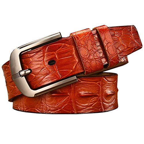 Mens Crocodile-Simulated Black/Brown/Coffee Leather Belt for Pin Buckle,41-49inch (41-49inch, Brown) - Leather Crocodile Belt