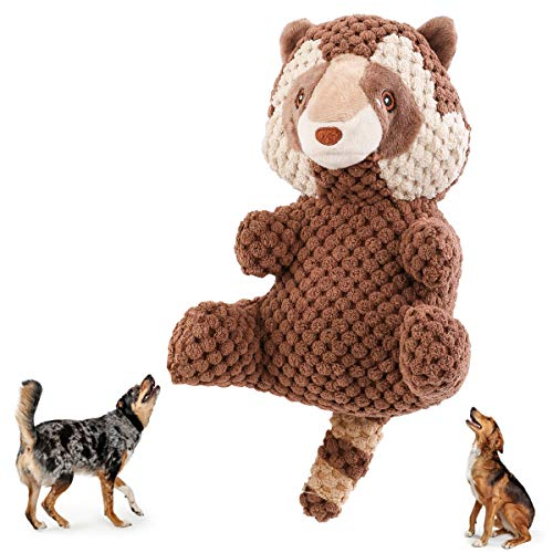 Beewarm Squeaky Dog Chew Toys for Large Medium Small Dogs- Lifetime Replacement Guarantee - Stuffed Animals Rope Chew Toy for Puppy Raccoon