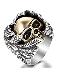JewelryWe Biker Men's Large Heavy Stainless Steel Gothic Wing Skull Ring Wedding Band Christmas Valentine's Day Gift Deal