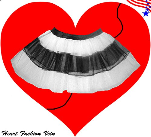 White Black V Stripe Fun Tutu Skirt Halloween Fairy (Barbie Doll Halloween Costumes Adults)