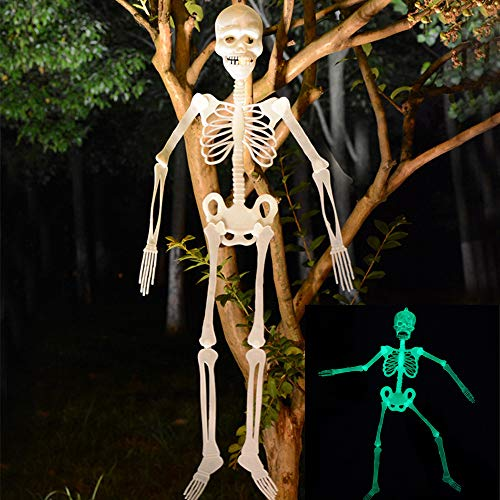 Blackcat 90cm Luminous Skull Skeleton Body Scary Halloween Toy Haunted House Tricky Prop (AS Show)]()