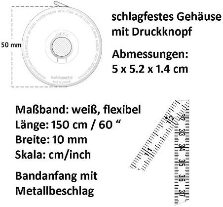 Balzer hoechstmass 80244d Bouton rollfix m/ètre-Ruban Recto-Verso 150 cm//60 Pouces avec Boutons d/écors