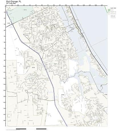 Amazon Com Zip Code Wall Map Of Port Orange Fl Zip Code Map