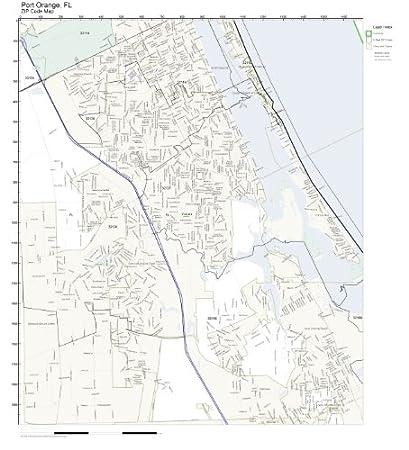 Port Orange Zip Code Map.Amazon Com Zip Code Wall Map Of Port Orange Fl Zip Code Map