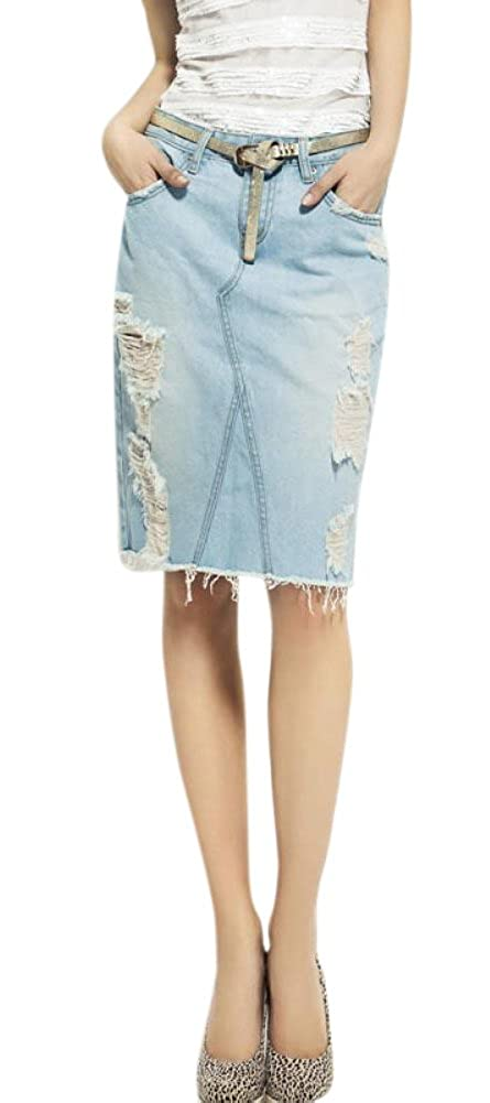 Englishop Women Single-Breasted A-Line Pencil Denim Skirt for Girls with Button Front AKjol520113093971