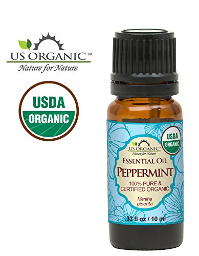 US Organic 100% Pure Peppermint Essential Oil - USDA Certified Organic - 10 ml - w/Improved caps and droppers (More Size Variations Available)