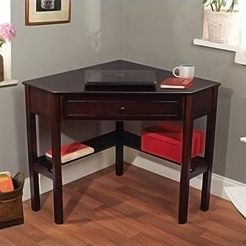 Espresso Student Home Office Computer Laptop Corner Writing Desk