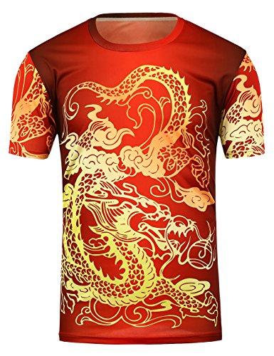 China Dragon T-shirt (Hamaliel Men's Red Dragon China Wind Design T-Shirt Fashion and Personality (red, XL))