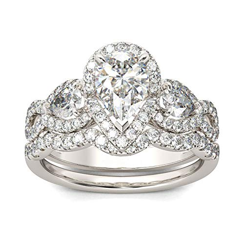(MDEAN Engagement Ring Set 925 Sterling Silver 0.7Ct Pear AAA Cz Eternity Jewelry for Women Size 6-9)