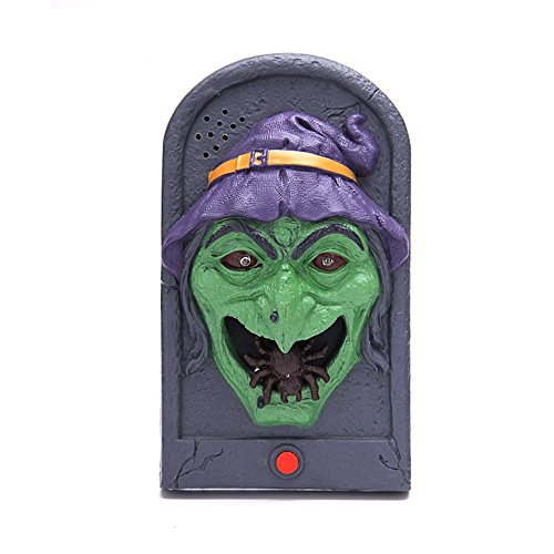Scary Halloween Witch (Halloween Witch Doorbell Light Up Eyeball Talking Scary Sounds for Party Bar Door Decorations Kids Gift Toys H099)