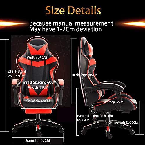 DX spelstol ergonomisk design falskt läder stol racerstil återhämtare med massage och fotstöd lämplig för hemmakontor etc (röd och svart), stålstolsben