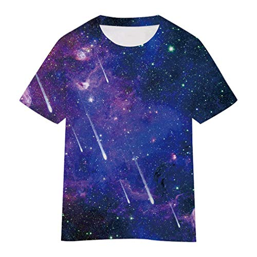 (SAYM Boys' Youth Kids Galaxy Comfy Soft Moisture Wicking Tops Tees Shirts NO19 L)
