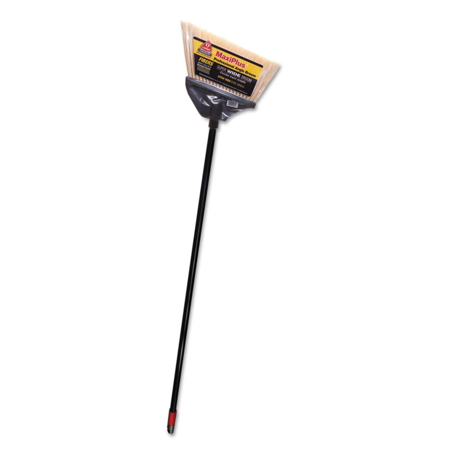 O-Cedar Commercial MaxiPlus Professional Angle Broom, Polystyrene Bristles, 51'' Handle, Black - 91351EA (Pack of 2)
