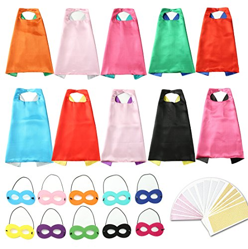 Onway Dress Up Superheros DIY Cape  Mask Party Role Cosplay Costumes Set Of 10