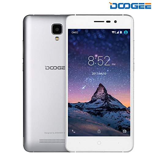 "DOOGEE X10, Unlocked Cell Phones - Dual Sim Smartphone With 5.0"" IPS Display - Android 6.0 - 8GB ROM - 2MP+5MP Dual Camera - 3360mAh Battery - GSM Unlocked Phone International - Silver(no ads)"