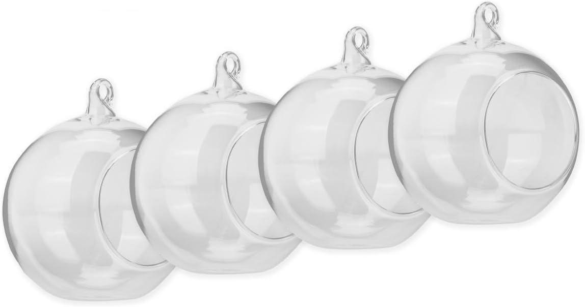 SWISSELITE Glass Hanging Air Orbs Terrariums, Glass Plant Terrariums Globe Set of 4 pcs BILOBA
