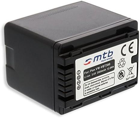 Lista! WX979 V520 con indicaci/ón del Tiempo restante de Toma! V510 3.6V - 3560mAh - Infochip v Bater/ía VW-VBT380 para Panasonic HC-V500 W858