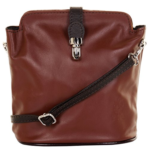 Primo Sacchi Italian Leather Hand Made Small Mid and Dark Brown Cross Body or Shoulder Bag (Nappa Leather Cross Body)