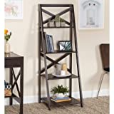 X 4-Tier Shelf, Multiple Finishes, Ladder Shelf with 4 Tiers Open Storage Space, Classic X-Design, Leaning Ladder Bookcase, Made Of Wood, Indoor Furniture, Home Furniture, BONUS e-book (Espresso)
