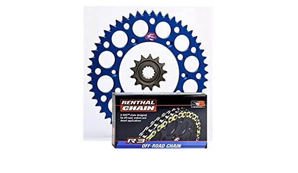 YZ450F 15//48 BLUE Renthal Grooved Front /& Ultralight Rear Sprockets /& R3 O-Ring Chain Kit compatible with Yamaha WR450F YZ250