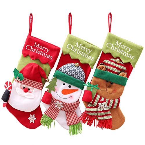 CHFUN Christmas Stockings,20'' Set of 3 Classic Plush 3D Santa Snowman Reindeer Large Xmas Stocking Kits Party Decoration Gift Bag