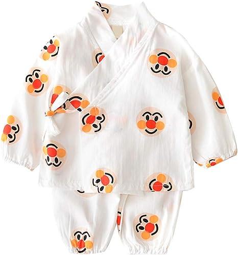 Conjunto de pijama de algodón japonés con diseño de dibujos animados, color blanco, 1 juego: Amazon.es: Bebé