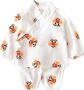 Camisa del bebé dormir Set japonesa pijamas de algodón Set kimono con pantalón rojo de la historieta de la cara imprimió el sistema de infantil Los niños pequeños Niño 110cm blanca 1Ponga: